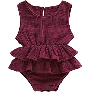 9716b781a3a7 Bowanadacles Newborn Baby Girl Romper Jumpsuit Cotton Linen Sleeveless  Ruffled Bodysuit Infant Summer Clothes Outfits