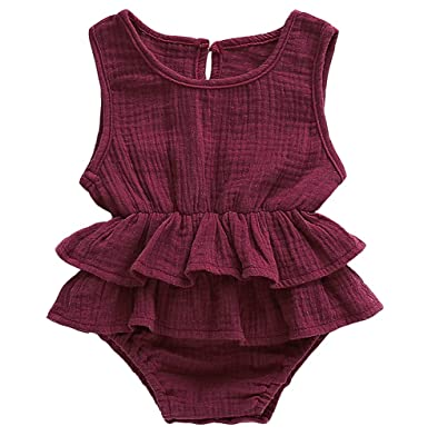 416ed3b76f34 Bowanadacles Newborn Baby Girl Romper Jumpsuit Cotton Linen Sleeveless Ruffled  Bodysuit Infant Summer Clothes Outfits (
