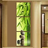 XrsArt 3 unids / set 121 artist canvas still life still life painting bamboo and vertical stone wall forms Canvas Pictures for imaging room (unframed) FCa603 48x16 inch