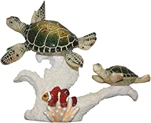 "Comfy Hour 8"" Turtle and Fish Coastal Ocean Theme Decoration"