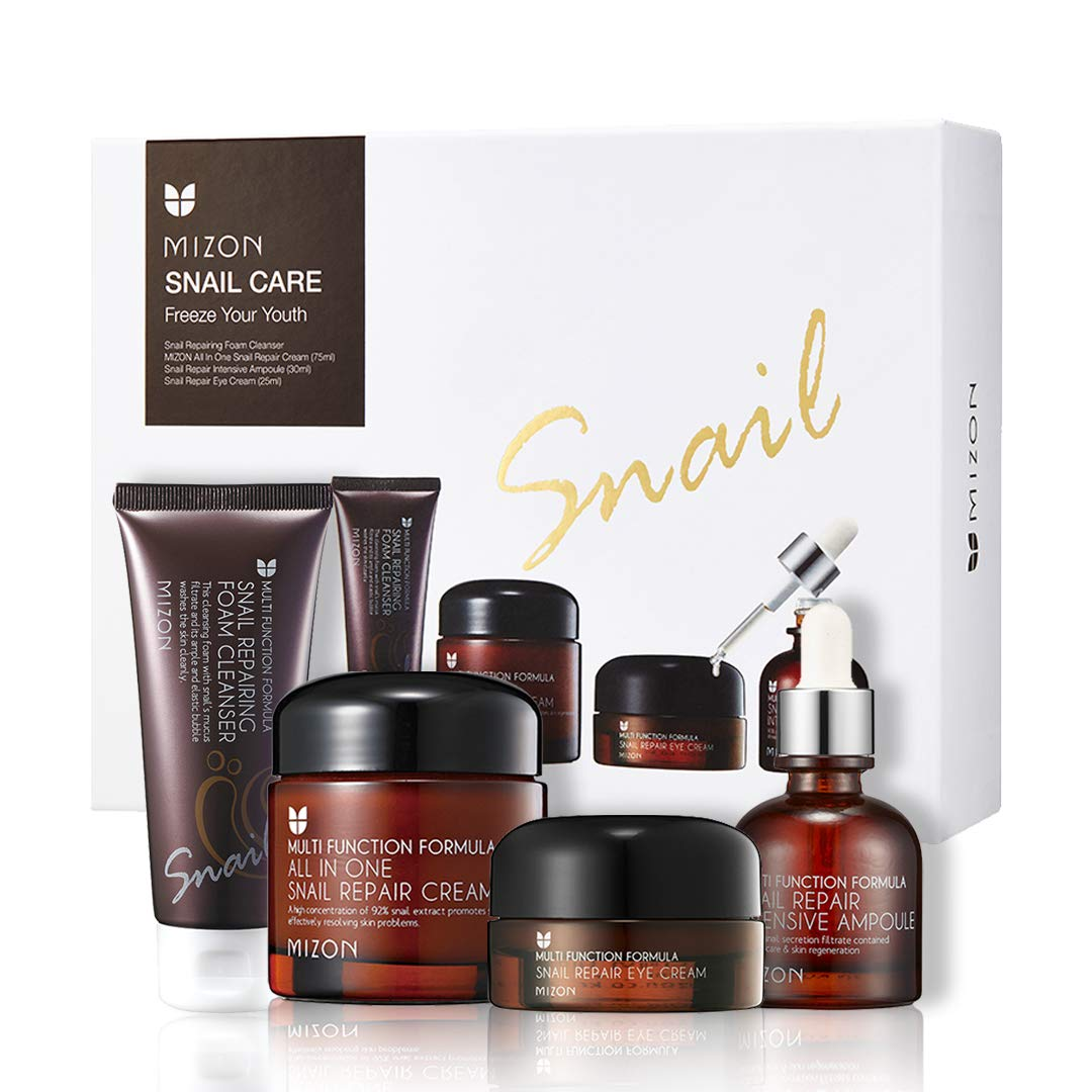 Mizon Snail Care Freeze your Youth Set: All in One Snail Repair Cream (75ml), Snail Repairing Foam Cleanser (60ml), Snail Repair Intensive Ampoule (30ml), Snail Repair Eye Cream (25ml) Korean Skincare