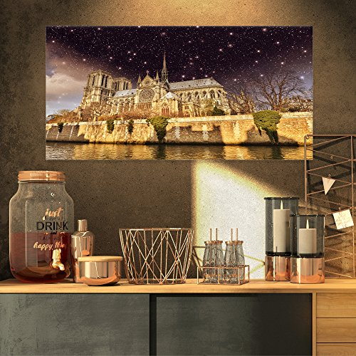 Notre Dame Cathedral Pictures - Notre Dame Cathedral at Night Cityscape Photo Canvas Print