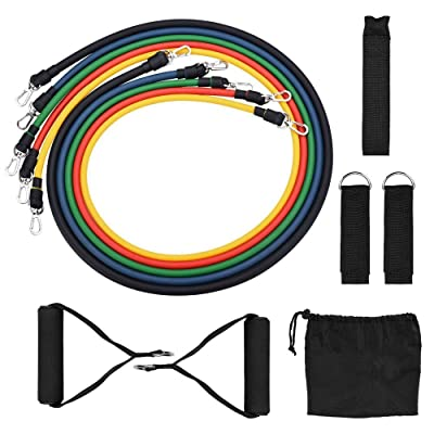 Hf-Fitness 12Pcs Resistance Bands Set 8 Shaped Fitness Elastic Rubber Loops Latex Pull Rope Sports Rubber Chest Expander Band Gym Door (Color : Black): Home & Kitchen