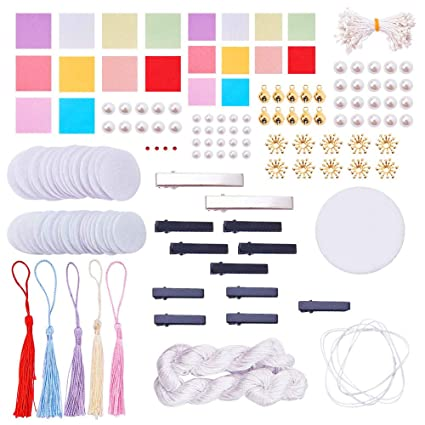 SUNNYCLUE Traditional Japanese Tsumami Hair Stick Picks Decorative Ornament Accessories Kits DIY Kanzashi Flower Alligator Clips