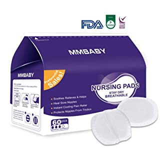 MMBABY Nursing Pads,1 Packs of 60 Stay Dry Disposable Breast Pads, Excellent Absorbency, Leak Protection, Double Adhesive Keeps Pads in Place