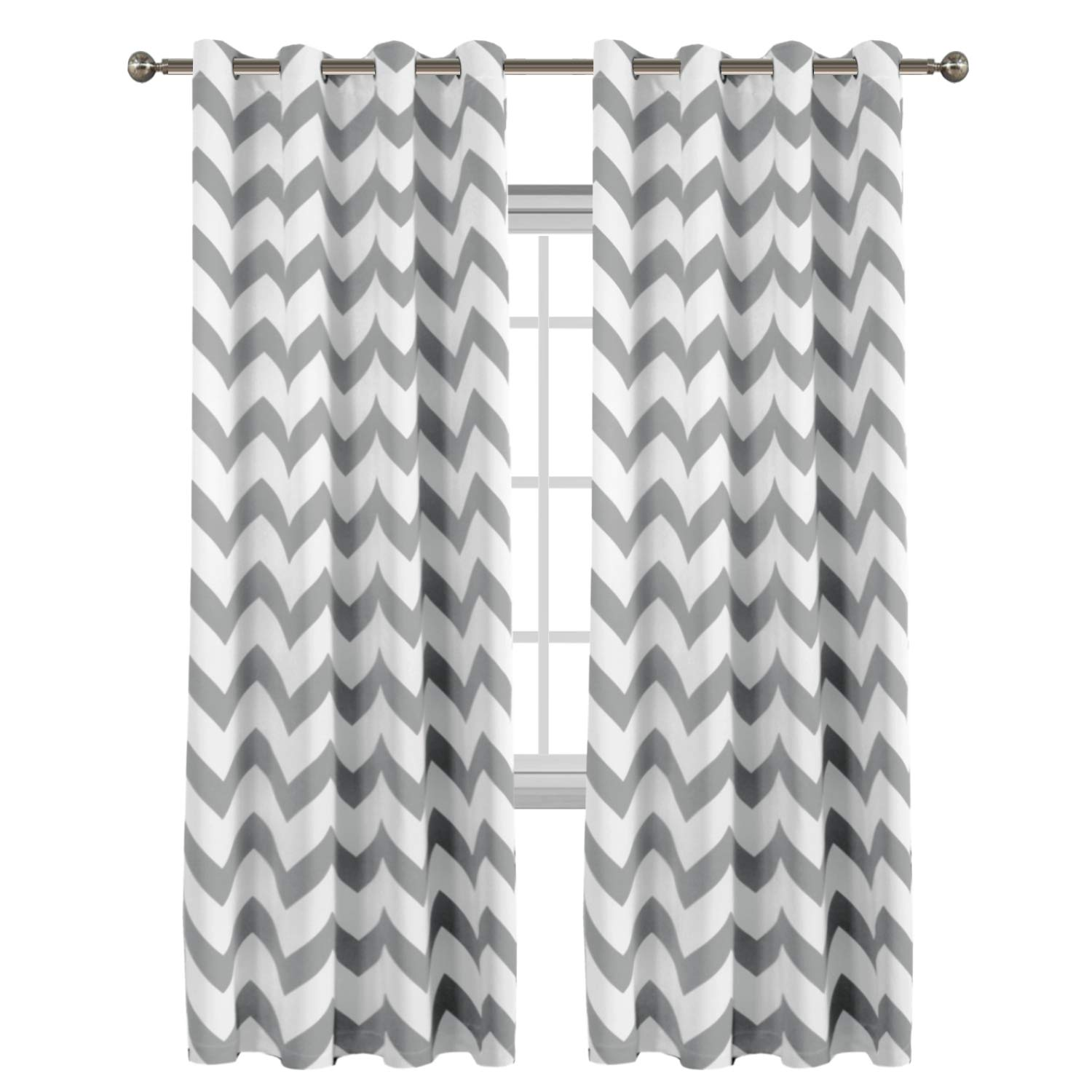 Flamingo P Traditional Window Drapes Chevron Pattern Thermal Insulated Blackout Curtain for Living Room Grommet Window Treatment Panel