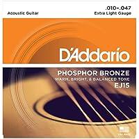 D'Addario EJ15 Phosphor Bronze Acoustic Guitar Strings, Extra Light (1 Set) – Corrosion-Resistant Phosphor Bronze…