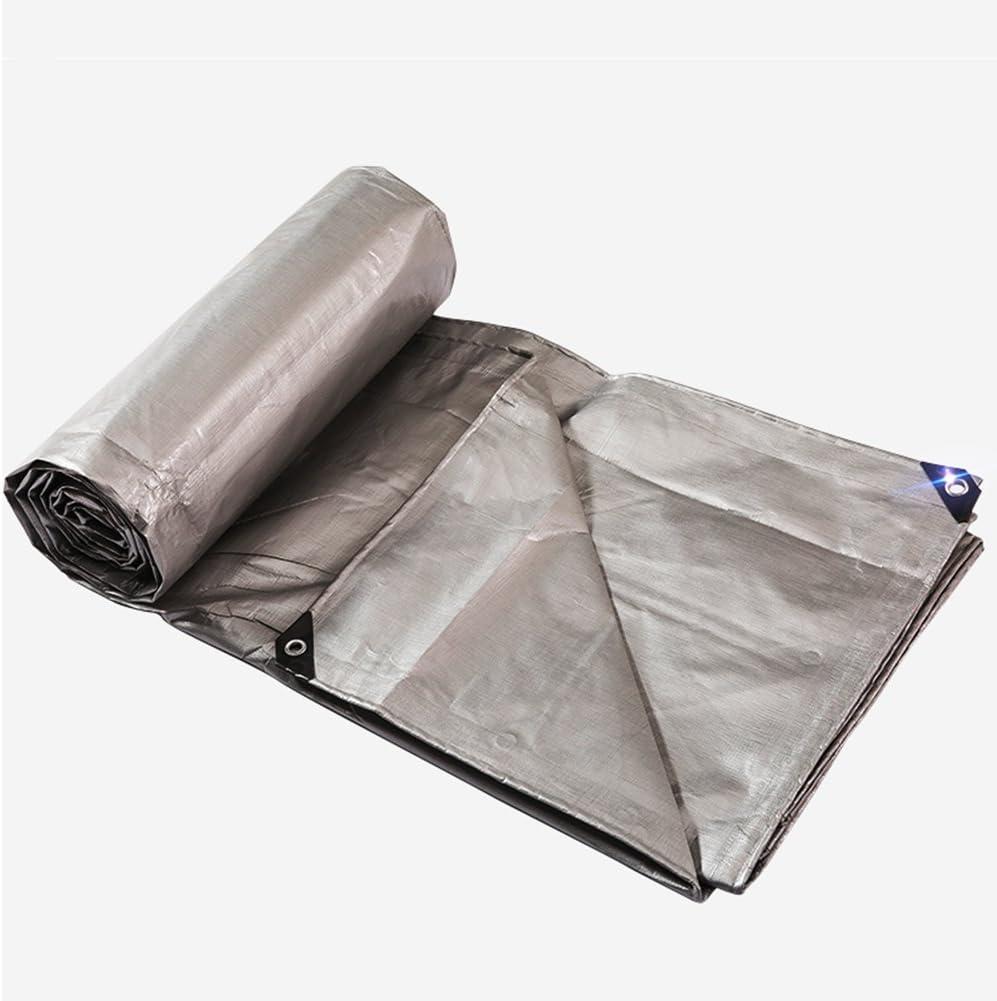 A 3 x 3m CAOYU Plane, LKW Regen Sonnenschutz Plane, Outdoor-Sonnens rm staubdicht und Wasserdicht Anti-Aging-Verschleiß, Farbe Streifen Tuch Silber