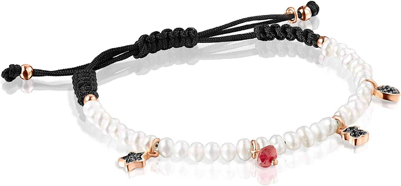 TOUS Pulsera Motif de Perlas y Cordón Negro con Plata Vermeil Rosa y Gemas