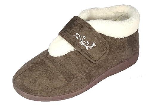Zapatillas Dunlop Deloris, para mujer, con forro polar, amplias, ajustables, con velcro, color Marrón, talla 38 EU: Amazon.es: Zapatos y complementos
