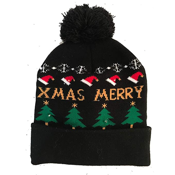 Amazon.com  Yiwa Led Light Christmas Hat Wool Black Christmas Tree ... 2eb7d51aecb