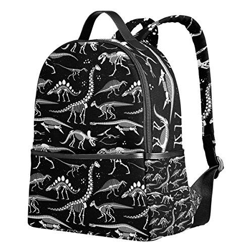 School Backpack Black And White Dinosaur Skeleton Students Bookbags]()