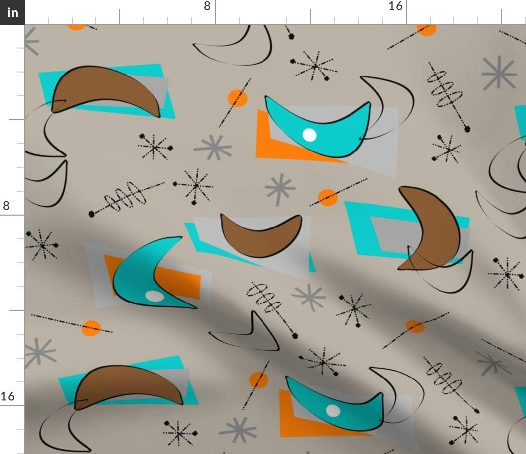 Spoonflower Fabric - Boomerangs Mid Century Modern Atomic Era Inspired Retro Pattern Printed on Petal Signature Cotton Fabric by The Yard - Sewing Quilting Apparel Crafts Decor