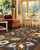 Mohawk Home Soho Encanto Chocolate Floral Printed Area Rug, 5′ x 8′, Brown For Sale