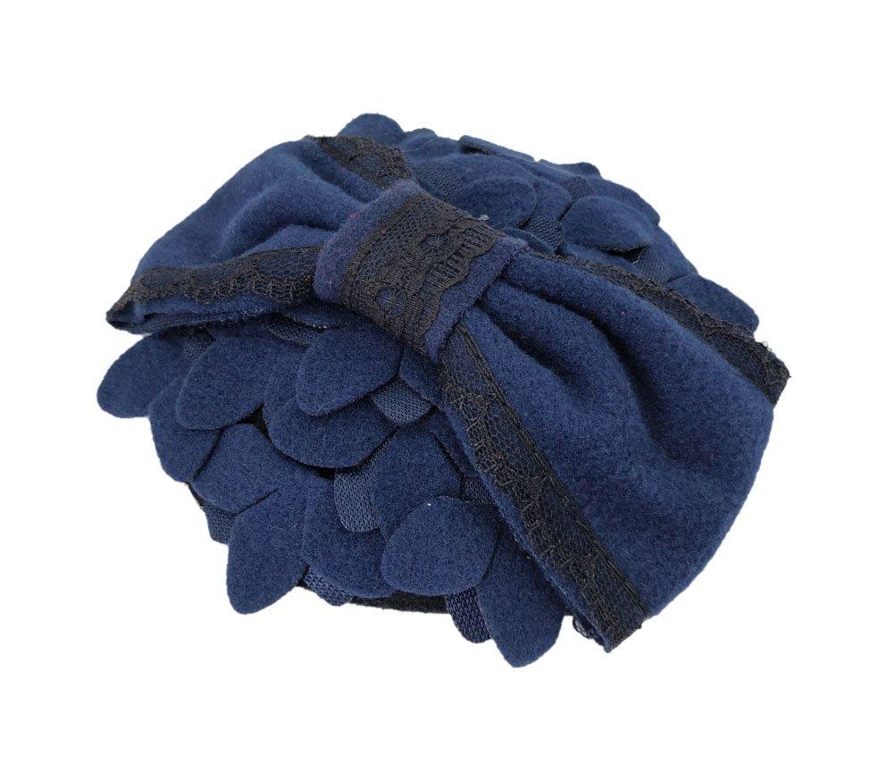 Ahugehome Fascinator Hair Clip Headband Pillbox Hat Bow Flower Wool Vintage Party (M Dark Navy Blue)