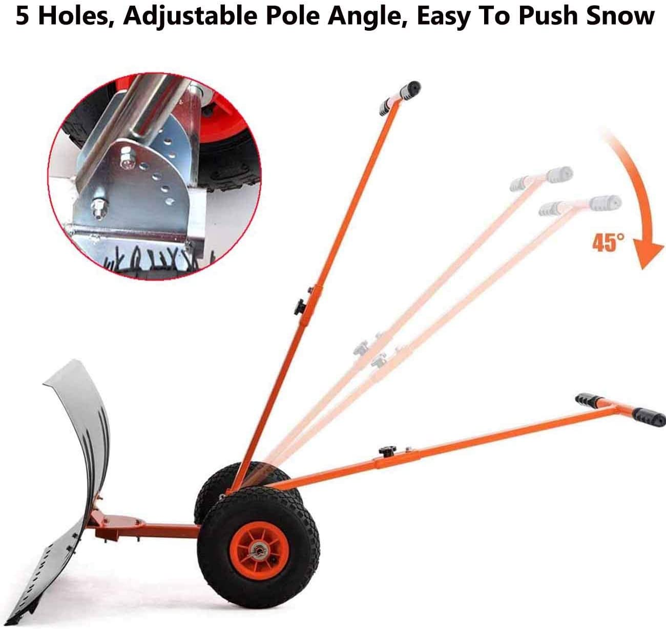 Wheeled Snow Shovel Pusher for Doorway Driveway Heavy Duty Rolling Snow Plow with 29 Large Blade /& Anti-Skid Wheels /& Adjustable Handle