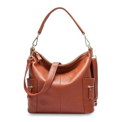 211ce8e8a4 Amazon.com  Zency Leather Charm Women Shoulder Bag Large Capacity Beige  Messenger Crossbody Purse Female Tote Handbag Black Color Brown  Shoes