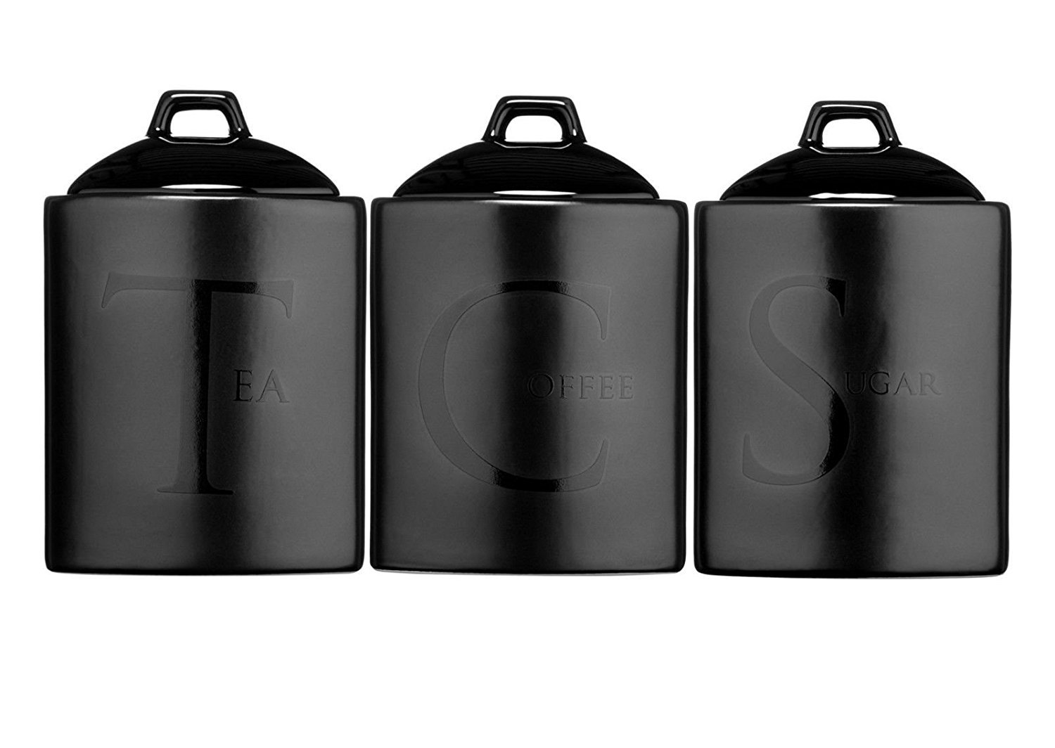 Premier Housewares Kitchen Cannisters With Black Text: Tea, Coffee, Sugar