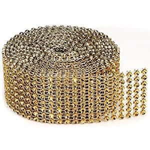 8 Rows Bling on a Roll, 3mm x 2-Yard, Gold (3-Pack)