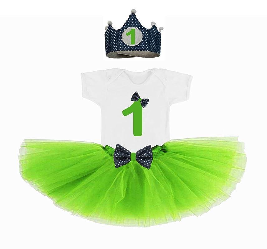 Conjunto primer cumpleaños 1 año bebes niñas verde (corona + body ...