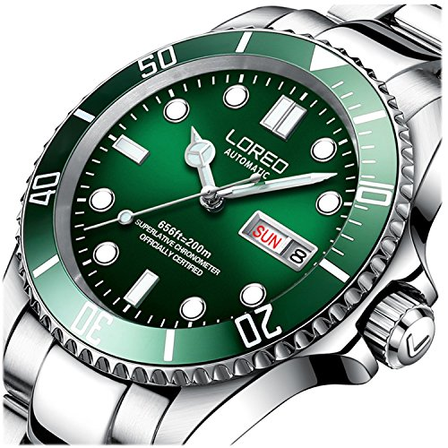 LOREO Mens Silver Stainless Steel Sapphire Glass Green Rotating bezel Men's Automatic date week (Date Rotating Bezel)