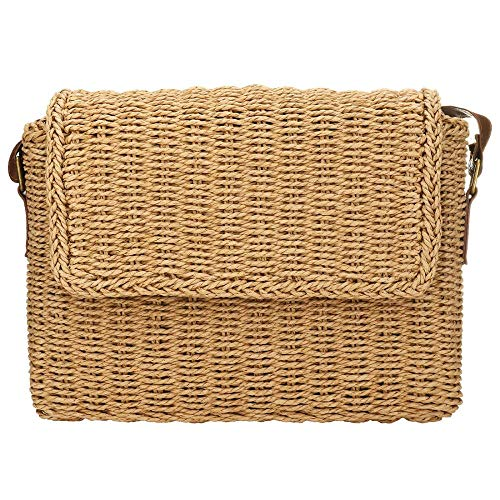 Women Straw Shoulder Bag Flap Crossbody Handbag Summer Casual Bag Messenger Satchel for Summer Beach (Khaki)