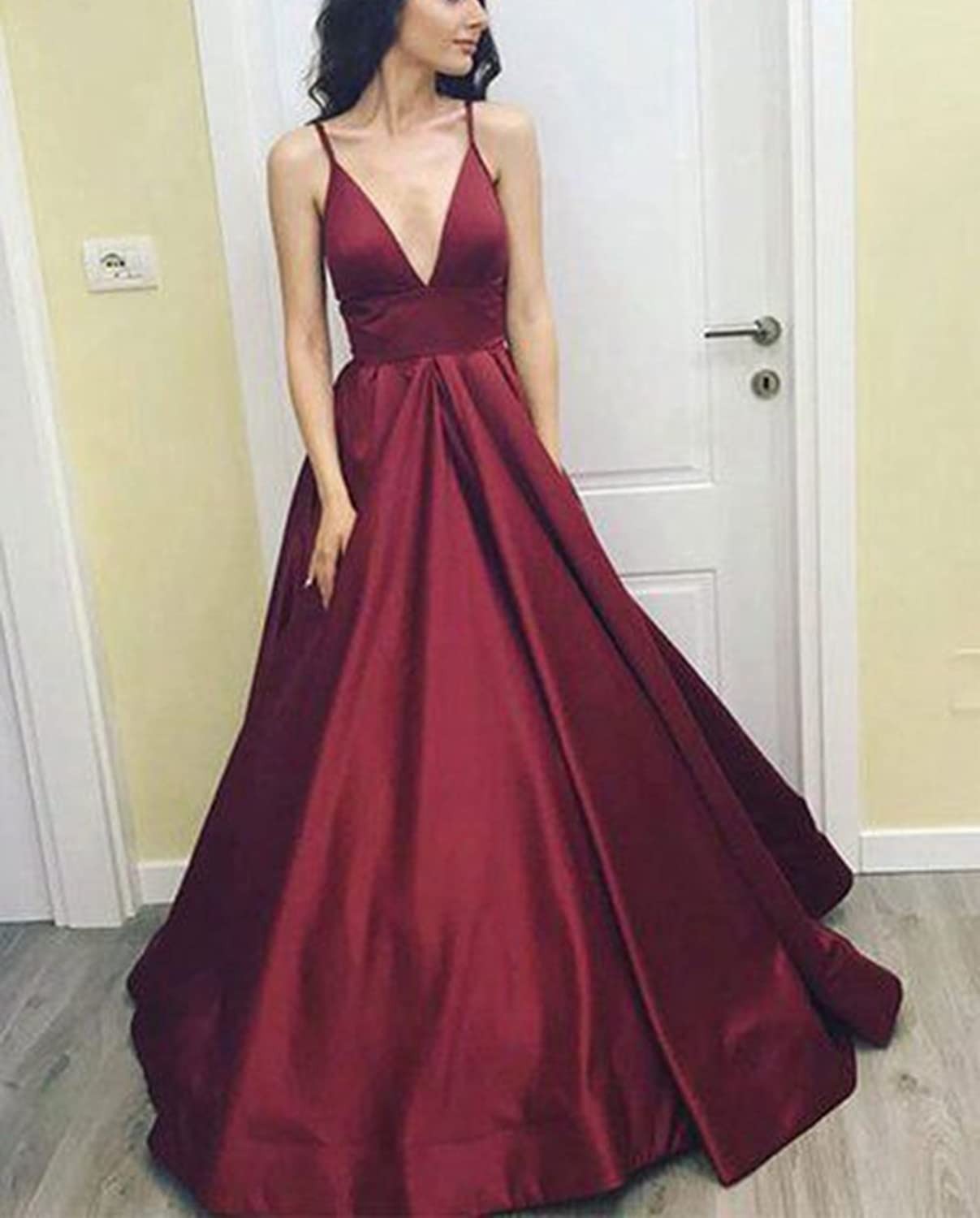 2018 Womens Sexy Burgundy Prom Dress A line Long Gala Dresses Vestidos at Amazon Womens Clothing store: