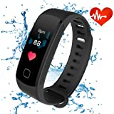 Fitness Trackers HR, ALANGDUO Waterproof Activity Trackers with Heart Rate Monitor Step Counter for Sport Exercise, Smart Bracelets for Adults Men Women (Black)