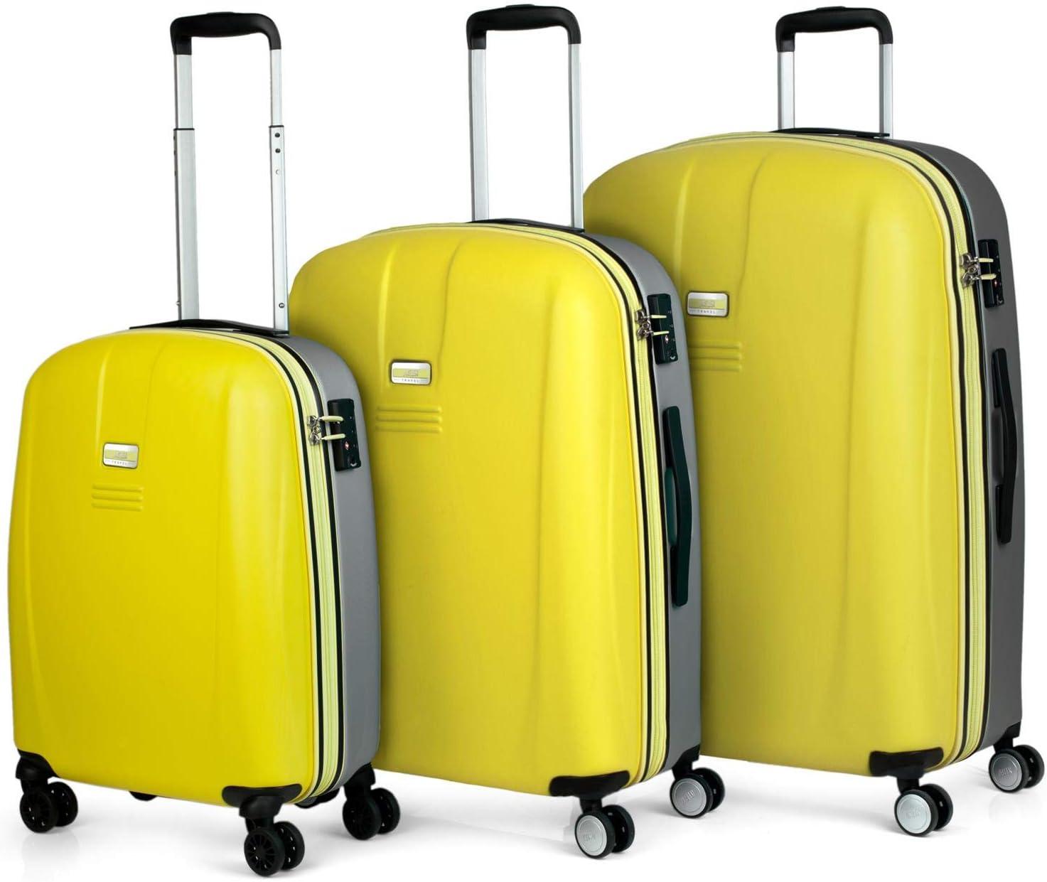 JASLEN - Maletas de Viaje Duras Rígidas 4 Ruedas Trolley ABS. Neceser. Cómodas Resistentes y Ligeras. Cabina, Mediana y Grande. Candado TSA (Amarillo-Plata, Juego de 3 Maletas)