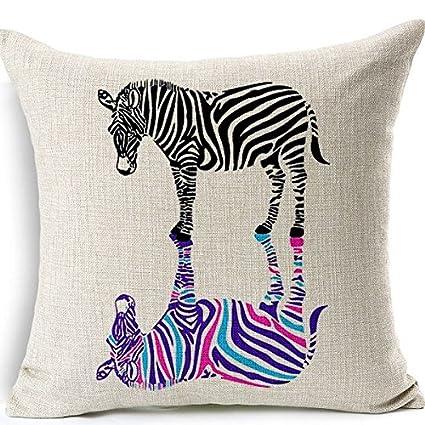 MAYUAN520 Cojines Creative Zebra Cojín Decorativo Impreso Cubre Coche Ropa Gruesa Funda De Almohada
