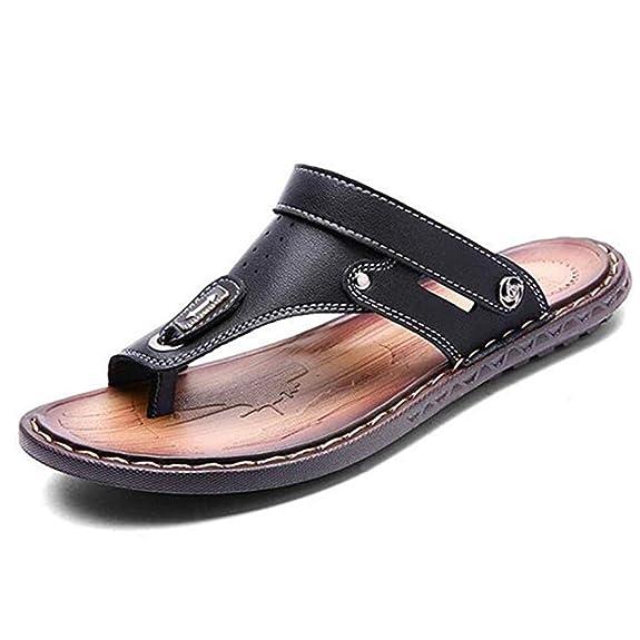 Newbestyle été Tongs Homme Cuir Souple Plat Flip Flop Sandale Chaussures de Plage