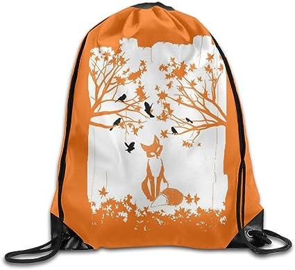 Fox Drawstring Backpack Rucksack Shoulder Bags Training Gym Sack For Man And Women