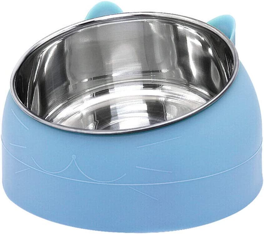 Stainless Steel pet Bowl, cat Bowl and Dog Bowl are Suitable for Cats/Dogs to Feed Food and Water, Long-Lasting Preservation, 15° tilt to Protect The pet's Cervical Spine (Blue, 800ml)