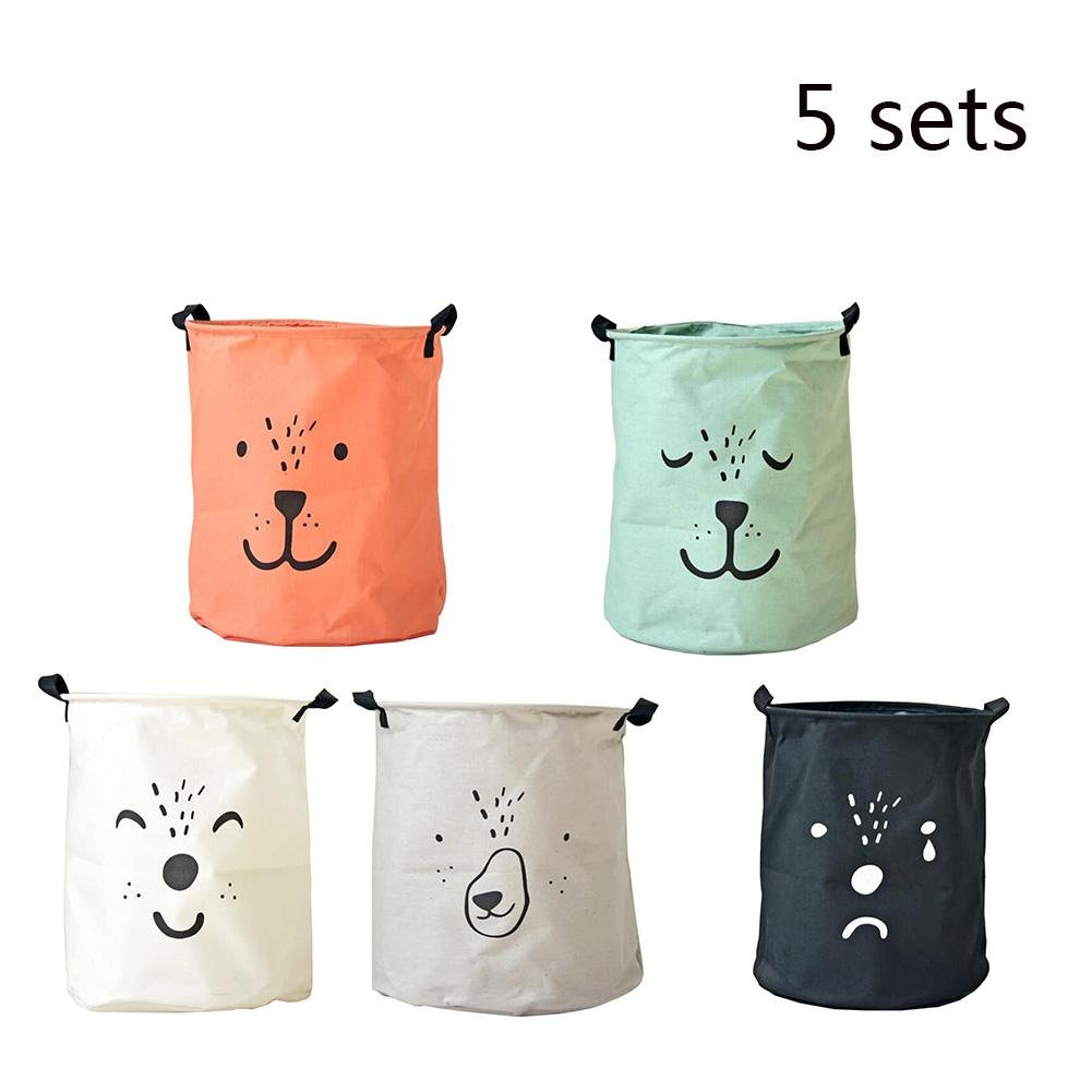 TSAR003 Large Animal Expression Cotton And Linen Foldable Waterproof Laundry Hamper Or Basket Dirty Clothes Toy Storage Barrels , Sets