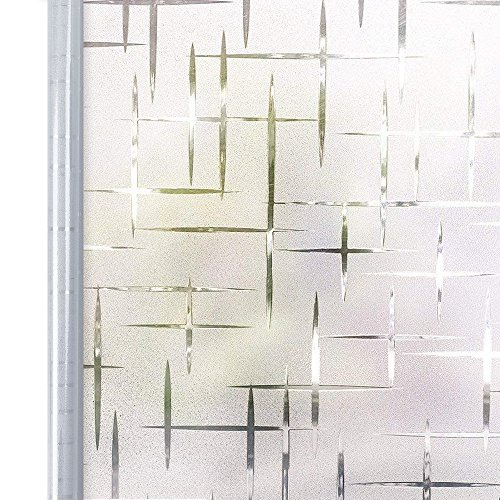 (Homein Privacy Window Film White Cross, Self Adhesive Frosted Window Film Removable Static Cling Decorative Glass Window Sticker No Glue UV Blocking Window Cling Blind for Office Kitchen 17.5