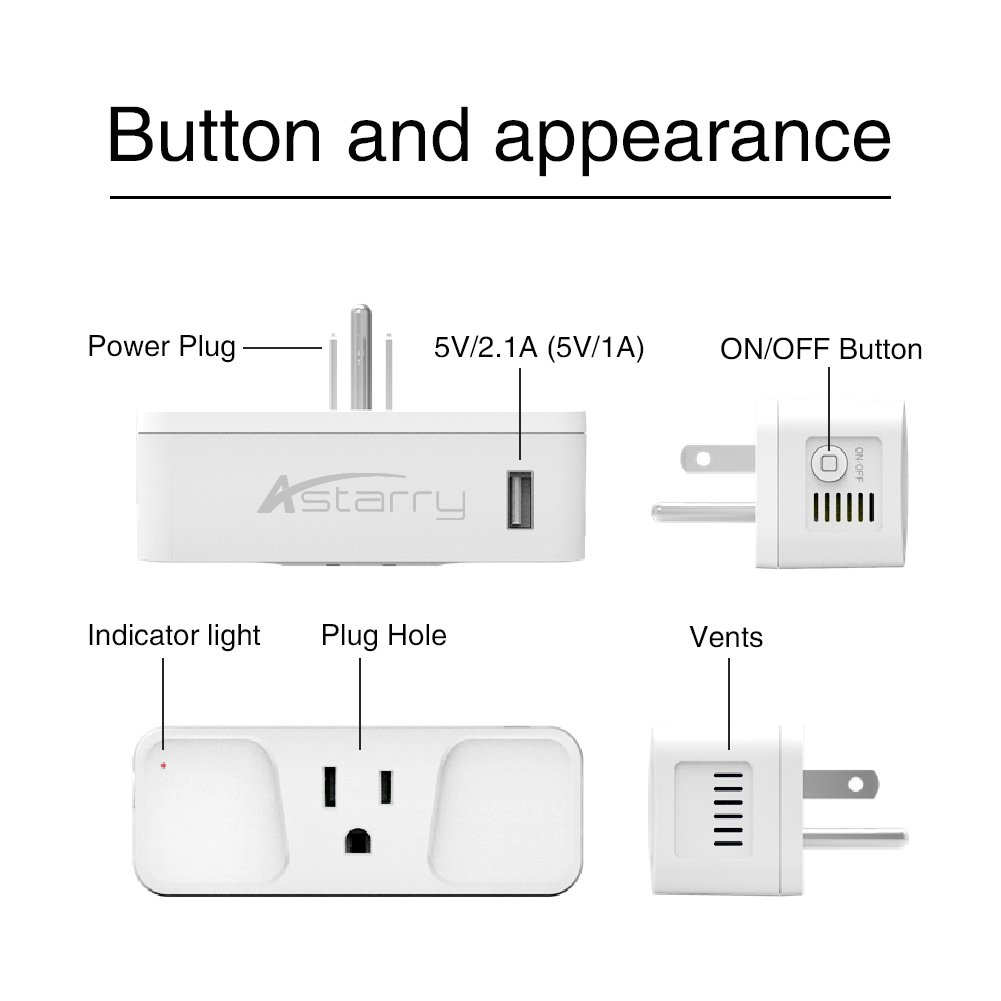 Wi-Fi Smart Plug, Astarry Mini Outlets Smart Socket No Hub Required Compatible with Alexa and Google Assistant USB Charger 5V 2.1A,support Android and IOS APP,15A by Astarry (Image #6)