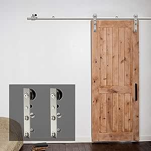 GWXFHT Herraje para Puerta Corredera Kit Kit de herrajes para riel de Puerta corrediza de baño de Acero Inoxidable de 150-300 cm Puerta de Granero Accesorios de riel telescópico para Puerta Colgante: