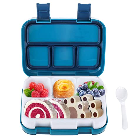 b398a65743ef Lunch Box for Kids Bento Box 4 Compartment Lunchbox BPA-Free,Childrens Food  Storage Container with Spoon Leak Proof Meal Prep for School Picnics ...