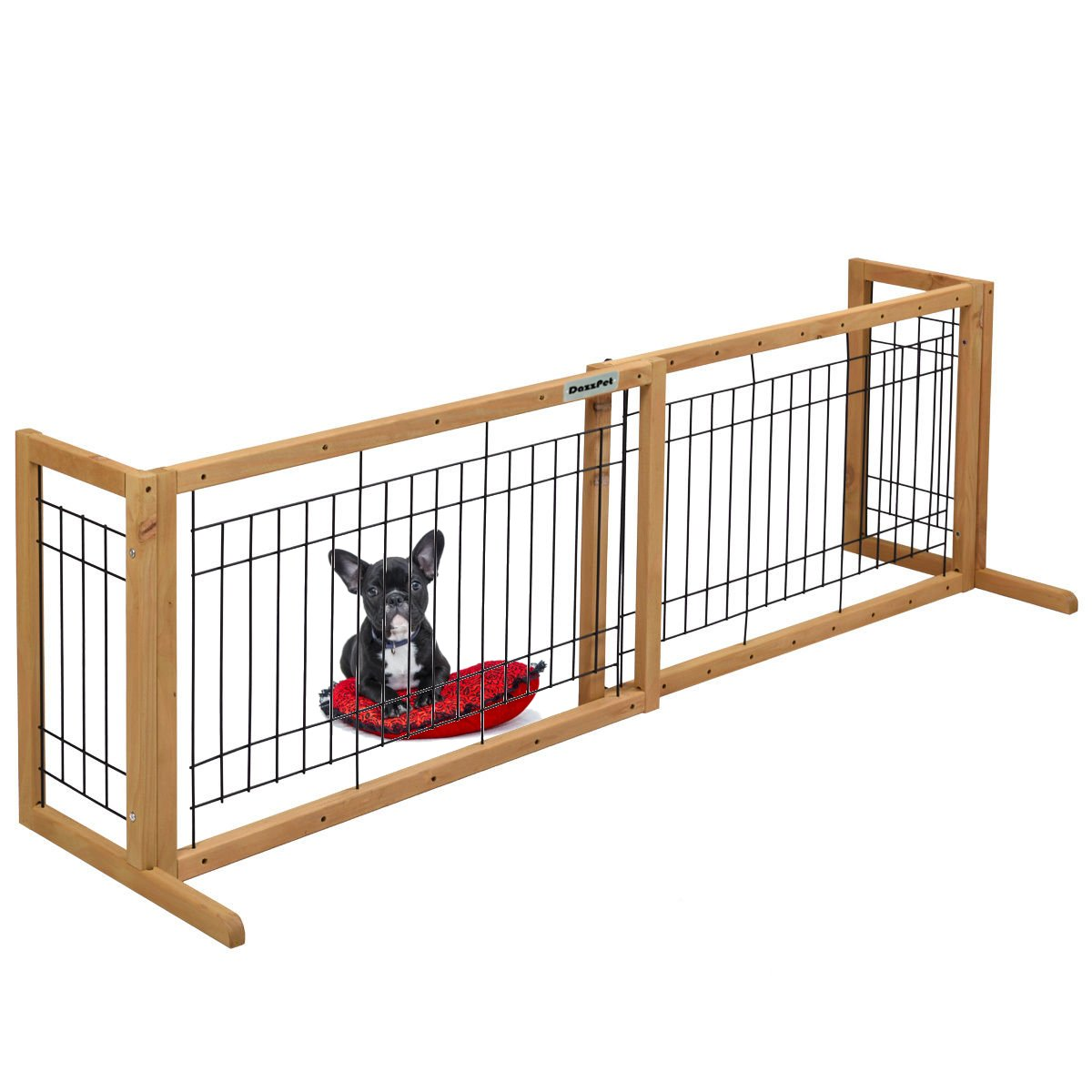 DazzPet Free Standing Pet Gates   Extra Wide Indoor Small Dog Gate   Expandable Puppy Safety Gate   Wooden Long Door 40'' to 71'' Adjustable Inside Doggy Fence
