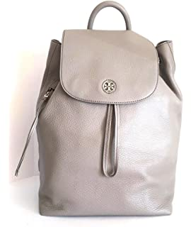 50f58f0630d9 TORY BURCH Brody Leather Drawstring Backpack FRENCH GRAY