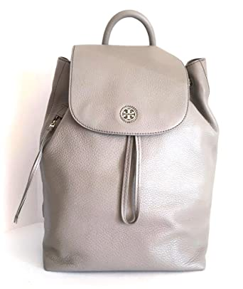 042c3db914d4 Amazon.com  TORY BURCH Brody Leather Drawstring Backpack FRENCH GRAY ...