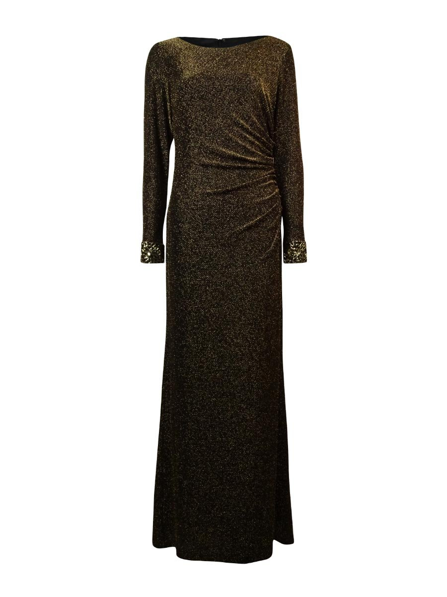 439b89507fa Patra Women s Beaded Trim Long Sleeve Metallic Dress at Amazon Women s  Clothing store