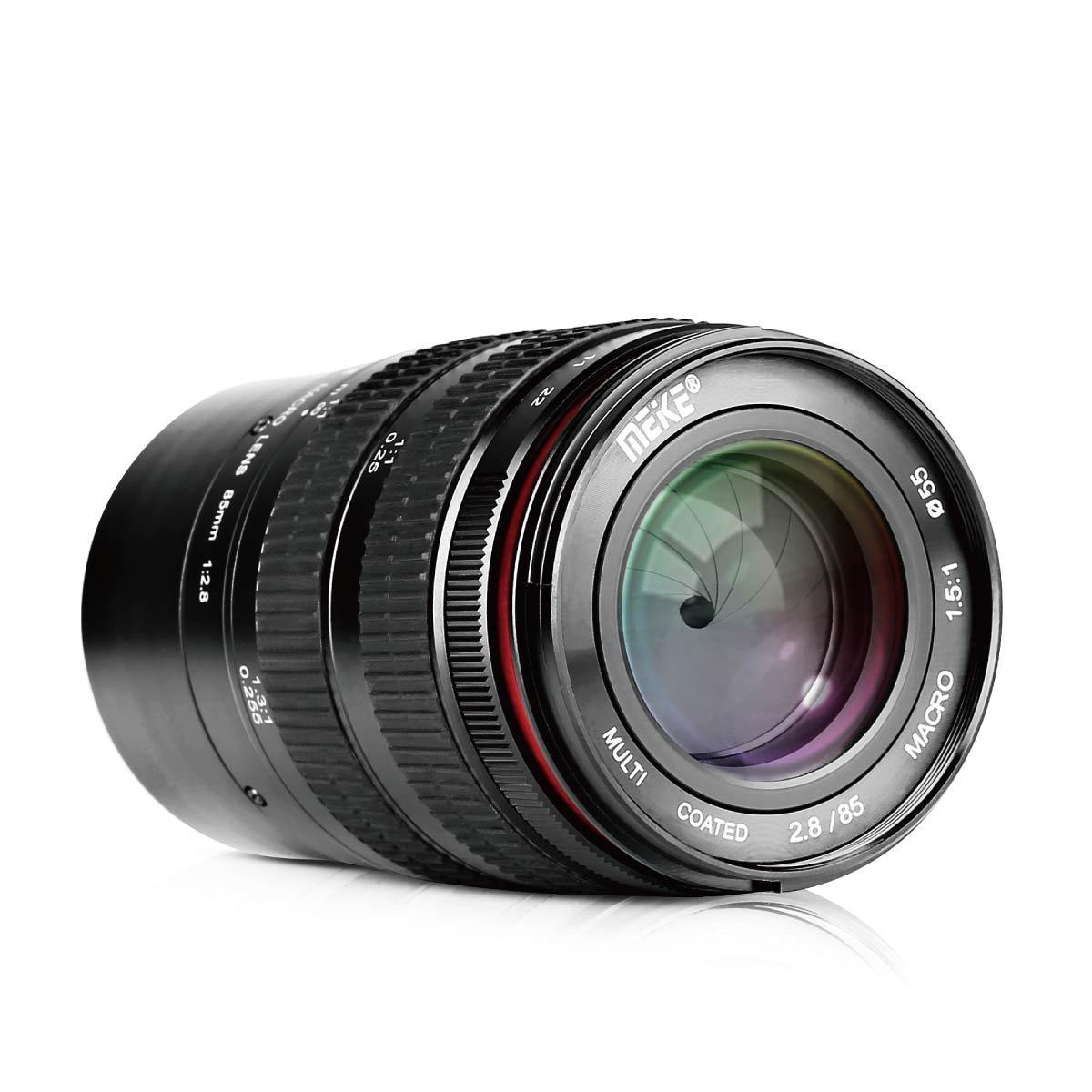 Meike 85mm F/2.8 Manual Focus Aspherical Medium Telephoto Full Frame Prime Macro Lens with Portrait Capability for Sony E-Mount Digital Mirrorless DSLR Cameras by MEKE