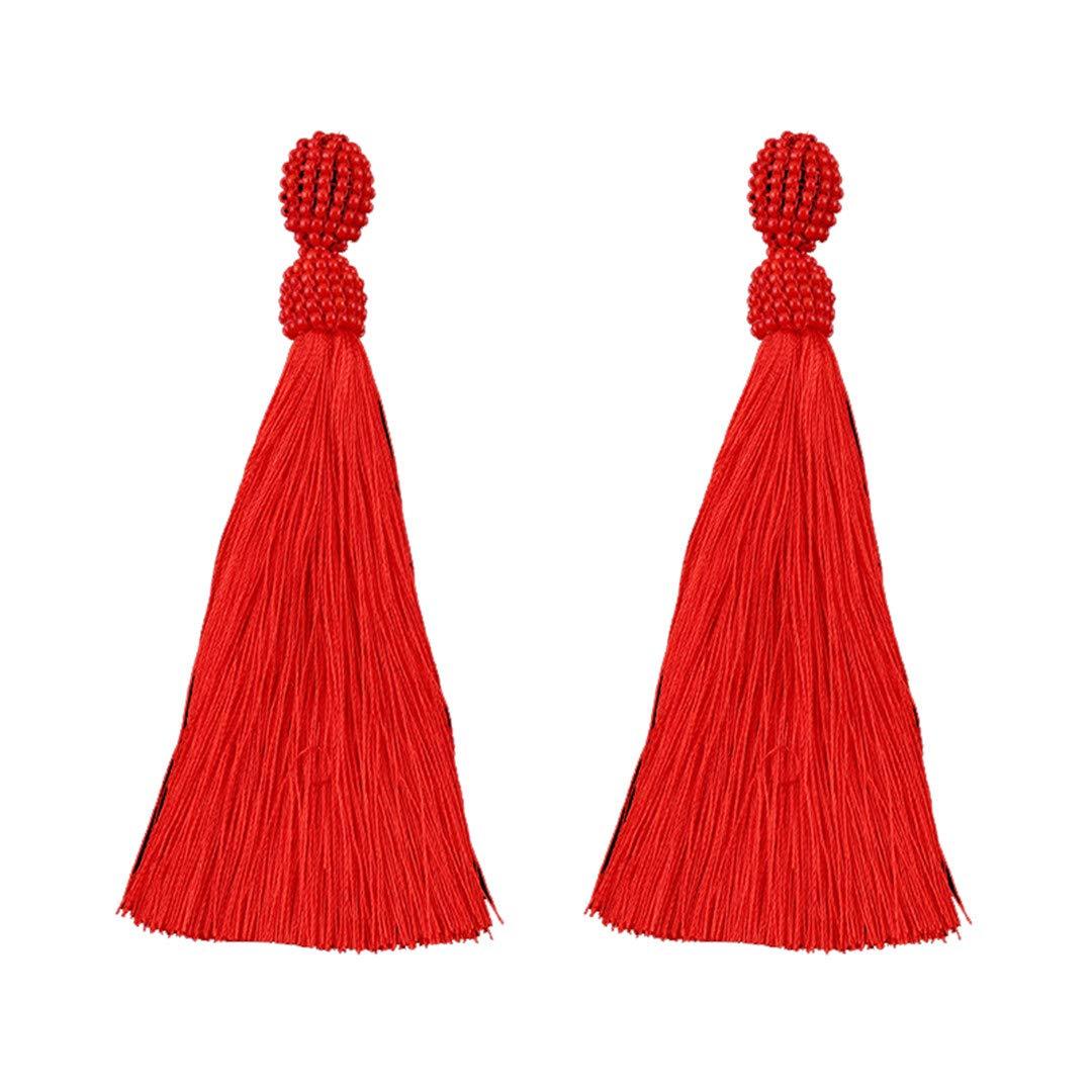 Water Drop Beads Big Statement Earrings For Women H made Tassel Fringes Flower Crystal Dangle Drop Earrings Girls