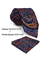 Shlax & Wing Extra Long Mens Necktie Paisley Navy Orange Silk Tie Classic For Men