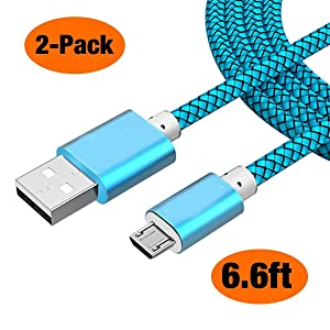 Micro USB Cable Android (2pack 6FT) MicroUSB Fast Quick Charger Cord for Samsung S7 S6 Edge, Galaxy J7 J5 Prime Pro, Kindle Fire Tablet, Paperwhite Voyage E-Reader, PS4 Xbox One Controller - Ice Blue