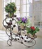 AH Portavasi in Ferro da interno e per giardino esterno Scaletta Portafiori Fioriera Decorativa, per 3 vasi, 75 x 66 x 28cm Marrone