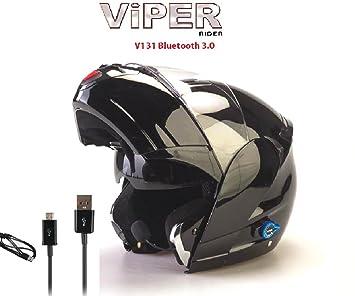 Viper Casco de la motocicleta V131-Plus Bluetooth Casco compite con el casco Negro Brillante