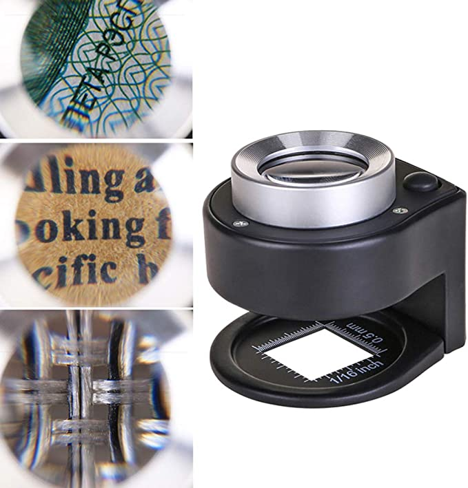 Amazon Com Susada Magnification 30x Optical Glass Lens 6 Led Full Metal Folding Linen Tester Loupe Magnifying Glass Thread Counter Magnifier Office Products