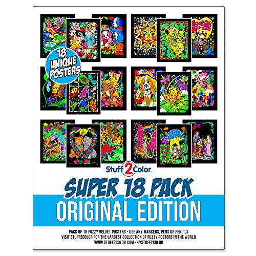 Super Pack of 18 Unique Fuzzy Velvet Coloring Posters (Original Edition)